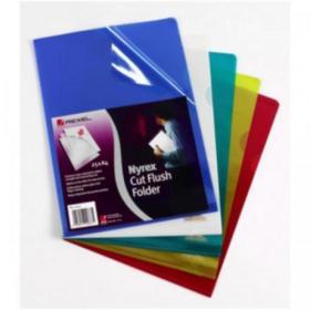 Rexel Nyrex Folder Cut Flush A4 Blue Ref 12161BU Pack of 25