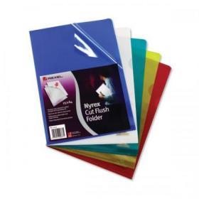 Rexel Nyrex Folder Cut Flush A4 Yellow Ref 12161YE Pack of 25