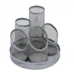 Cheap Stationery Supply of 5 Star Office Desk Tidy Wire Mesh Scratch Resistant Non-Marking Base 5 Compartment DiaxH: 160x140mm Slv Office Statationery