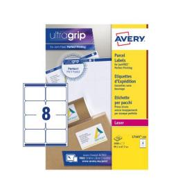 Avery Parcel Labels Laser Jam-free 8 per Sheet 99.1x67.7mm White Ref L7165-250 2000 Labels