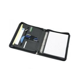 5 Star Elite Zipped Conference Ring Binder Capacity 20mm Genuine Leather A4 Black