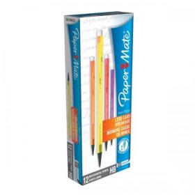 Paper Mate Non-Stop Automatic Pencil 0.7mm HB Lead Assorted Neon Barrels Ref 1906125 Pack of 12