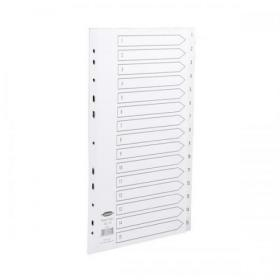 Concord Index 1-15 Polypropylene Multipunched Reinforced Holes 120 Micron A4 White Ref 64301