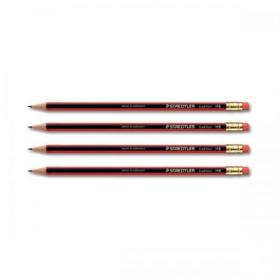 Staedtler 110 Tradition Pencil with Eraser PEFC HB Ref 112HBRT Pack of 12