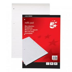 5 Star Office Refill Pad Headbound 60gsm Ruled Punched 4 Holes 160pp A4 Red Pack of 10