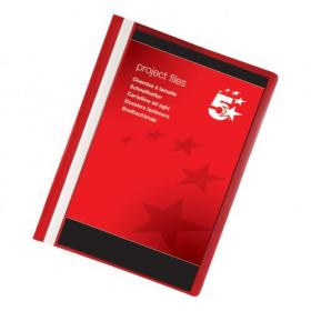 5 Star Office Project Flat File Lightweight Polypropylene with Indexing Strip A4 Red Pack of 5