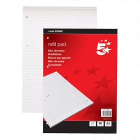5 Star Office Refill Pad Headbound 60gsm Ruled Margin Punched 4 Holes 160pp A4 Red Pack of 10