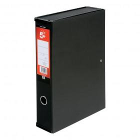 5 Star Office Box File 75mm Spine Lock Spring Foolscap Black Pack of 5