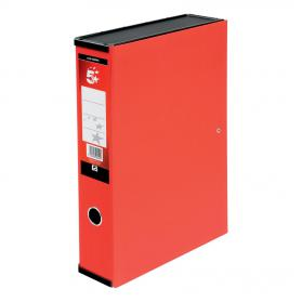 5 Star Office Box File 75mm Spine Lock Spring Foolscap Red Pack of 5