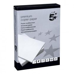 Cheap Stationery Supply of 5 Star Elite Premium Copier Paper Smooth Ream-Wrapped 80gsm A4 White 5 x 500 Sheets Office Statationery