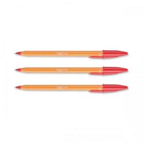 Bic Orange Ball Pen Fine 0.8mm Tip 0.3mm Line Red Ref 1199110112 Pack of 20