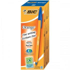 Bic Orange Ball Pen Fine 0.8mm Tip 0.3mm Line Blue Ref 1199110111 Pack of 20