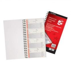 Cheap Stationery Supply of 5 Star Office Telephone Message Book Wirebound Carbonless 320 Notes 80 Pages 275x150mm Office Statationery