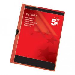 Cheap Stationery Supply of 5 Star Office Clip Folder 3mm Spine for 30 Sheets A4 Red Pack of 25 Office Statationery