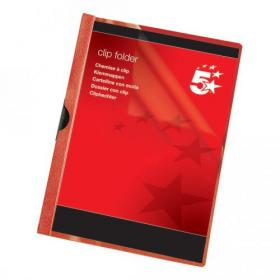 5 Star Office Clip Folder 6mm Spine for 60 Sheets A4 Red Pack of 25