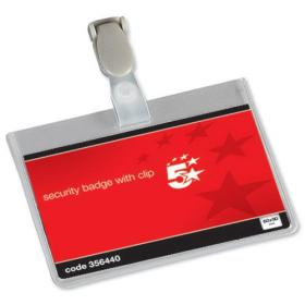 5 Star Office Name Badges Security Landscape with Plastic Clip 60x90mm Pack of 25