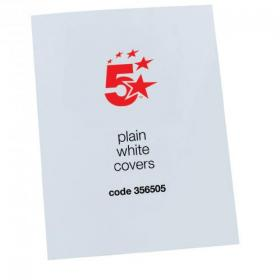 5 Star Office Binding Covers 250gsm Plain A4 Gloss White Pack of 100