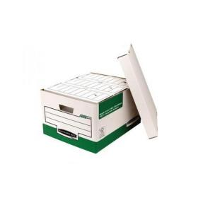 Bankers Box by Fellowes System Storage Box Foolscap White & Green FSC Ref 00791 Pack of 10