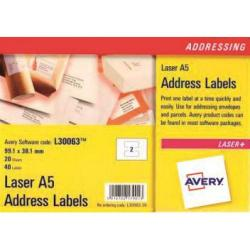 Cheap Stationery Supply of Avery Addressing Labels Laser 2 per A5 Sheet 99.1x38.1mm White L30063-20 40 Labels Office Statationery