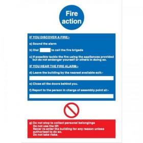 Stewart Superior Fire Action / If you discover fire Sign W210xH297mm Self-adhesive Vinyl Ref NS017SAV