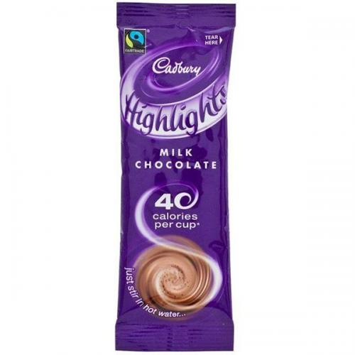 Cadbury Chocolate High Lights Fairtrade Hot Chocolate Powder Sachets Low Calorie 386067 Pack Of 30