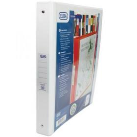 Elba Vision Ring Binder PVC Clear Front Pocket 4 O-Ring Size 25mm A4 White Ref 100080879 Pack of 10