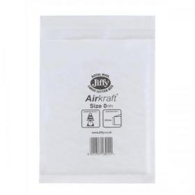 Jiffy Airkraft Bag Bubble-lined Peel and Seal Size 0 White 140x195mm Ref JL-0 Pack of 100
