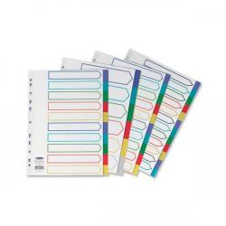 Cheap Stationery Supply of Concord Dividers 6-Part Polypropylene Reinforced Coloured-Tabs 120 Micron A4 White 65889 Office Statationery
