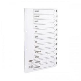 Concord Classic Index Jan-Dec Mylar-reinforced Punched 4 Holes 150gsm A4 White Ref 02201/CS22