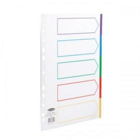 Concord Dividers 5-Part Polypropylene Reinforced Coloured-Tabs 120 Micron Extra Wide A4+ White Ref 66099