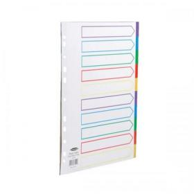 Concord Dividers 10-Part Polypropylene Reinforced Coloured-Tabs 120 Micron Extra Wide A4+ White Ref 66199