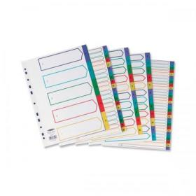 Concord index 1-10 Polypropylene Multipunched Reinforced Multicolour-Tabs 120 Micron A4 White Ref 66399