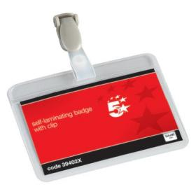 5 Star Office Name Badges Self Laminating Landscape with Plastic Clip 54x90mm Pack of 25