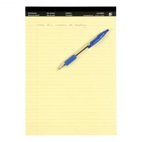 5 Star Office Executive Pad Hbd 65gsm Ruled with Blue Margin Perforated 100pp A4 Yellow Paper Pack of 10