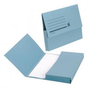 5 Star Office Document Wallet Half Flap 285gsm Recycled Capacity 32mm Foolscap Blue Pack of 50