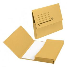 5 Star Office Document Wallet Half Flap 285gsm Recycled Capacity 32mm Foolscap Yellow Pack of 50