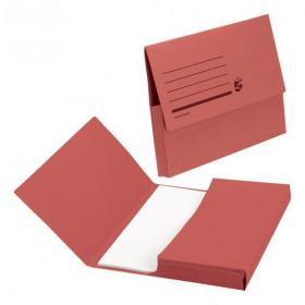 5 Star Office Document Wallet Half Flap 285gsm Recycled Capacity 32mm Foolscap Red Pack of 50