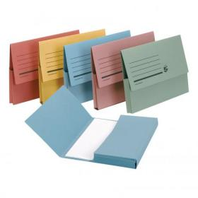 5 Star Office Document Wallet Half Flap 285gsm Recycled Capacity 32mm Foolscap Assorted Pack of 50