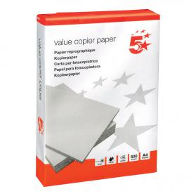5 Star Value Copier Paper Ream-Wrapped A4 White 5 x 500 Sheets