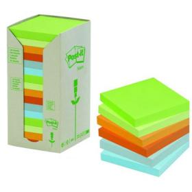 Post-it Notes Recycled 76 x 76mm Pastel Rainbow (Pack of 16) 654-1RPT