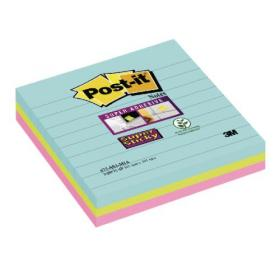 Post-it Super Sticky 101 x 101mm Lined Miami (Pack of 3) 675-SS3-MIA