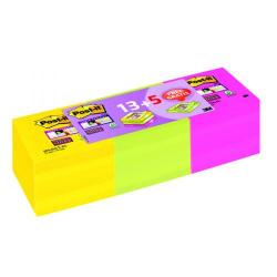 Cheap Stationery Supply of Super Sticky Notes Assorted 76 x 76mm 13+5 (Pack of 18) 654-SSP13+5 Office Statationery