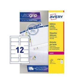 Avery Addressing Labels Laser Jam-free 12 per Sheet 63.5x72mm White Ref L7164-250 3000 Labels