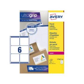 Avery Parcel Labels Laser Jam-free 6 per Sheet 99.1x93.1mm Opaque White Ref L7166-250 1500 Labels