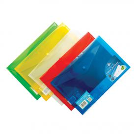 Concord Stud Wallet File Translucent Polypropylene Foolscap Assorted Ref 7095-PFL Pack of 5