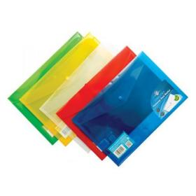 Concord Stud Wallet File Translucent Polypropylene Foolscap Assorted Ref 7095-PFL Pack of 5