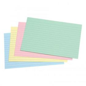 5 Star Office Record Cards Ruled Both Sides 6x4in 152x102mm Assorted Pack of 100