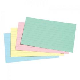 5 Star Office Record Cards Ruled Both Sides 5x3in 127x76mm Assorted Pack of 100