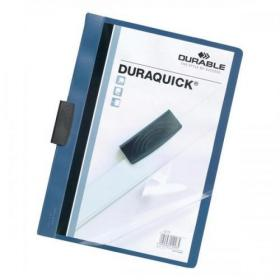 Durable Duraquick Clip Folder PVC Clear Front A4 Blue Ref 2270/06 Pack of 20