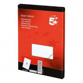 5 Star Office Multipurpose Labels Laser Copier and Inkjet 1 per Sheet 199.6x289.1mm White 100 Labels
